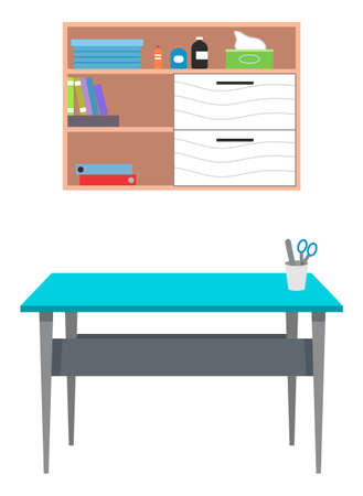 Interior equipment of a medical office wooden wall shelf with books and medicines and table with stationery. Set of furniture of examination or medical check up interior room flat vector illustration