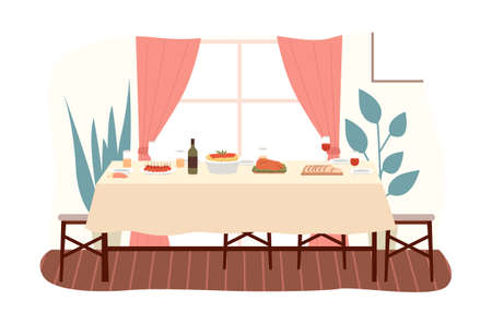 The dining room design flat vector illustration. Dining table with food and chairs nearby. Furniture model for the interior of a room for dinner eating and spending time. Arrangement of furniture at home