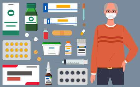 Male character is using a mask. The man is near a set of medicines and pills for virus. Various tubes and tablets for treatment, virus, quarantine time, self-isolation, pandemic
