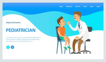 Pediatrician looks at the throat of a small boy with a special device landing page template. Doctor examines ill child in hospital. Cartoon male character physician works at clinic heals children Иллюстрация