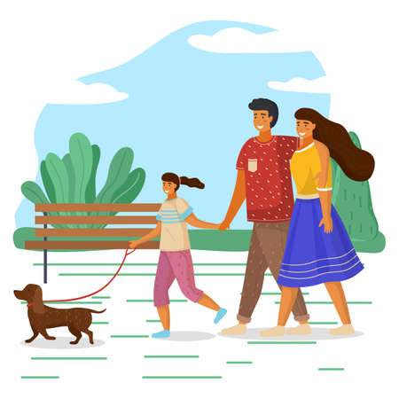 Mother, father and daughter family weekend, people walk with pet in summer park. Happy smiling family holding each other s hand, hugging, walking together outdoor with small dachshund dog sunny day