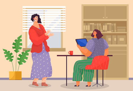 Businesswomen dressed in casual clothes sitting at the table with computer, standing in room and talking. Office meeting and consideration of working affairs. Office workers women in workspace Illustration