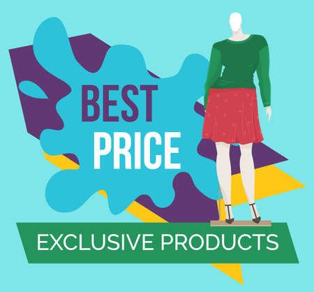 Best offer banner on the window of a clothing store with mannequins. Discount time. Big sale special offer with inscription. Super sale best price and super quality advertising poster illustration Векторная Иллюстрация