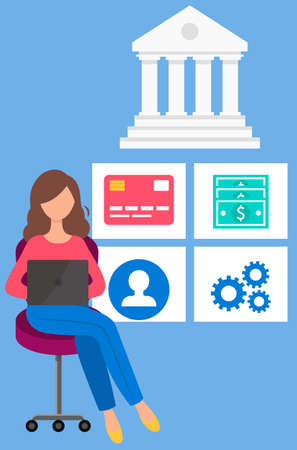 Girl with laptop makes financial transactions. Woman works in online banking and bank operations. Female character is transferring funds and working with money. Business program for payments