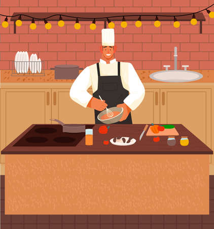 Chef man cook dish at kitchen, isolated cartoon character smiling, guy mixing ingredients of products in bowl with whisk, cooking process, cafe or restaurant, wearing cook hat and apron, enjoy of work