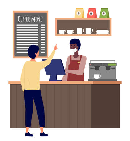 Man choose cakes and buy coffee at bakery shop or cafe. Male barista seller in face mask in bakery interior serves male customer. Visitors at the coffee shop during quarantine, safe service concept Vettoriali