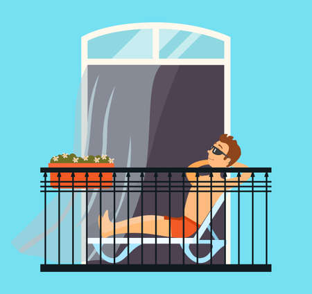 Man sitting in a chaise lounge relaxing on the balcony, tans in swimming trunks in the sun, comfort home pastime vector illustration. Repose at home in the evening after a hard day lying in a chair