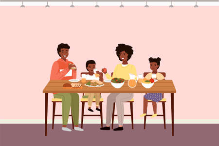 Afro american people having dinner in dining room. Afroamerican family dines with healthy food. Relatives eat natural fresh products vector illustration. Table with fruit, salad and sandwiches