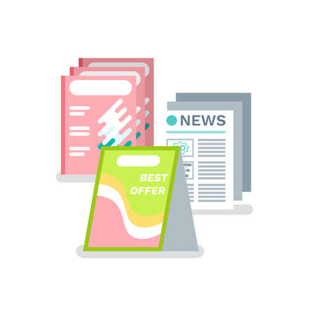 Advertisement in newspaper vector, isolated icon. Marketing and promotion in print mass media, advertise production of store, abstract design