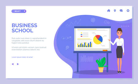Landing page of a business school. Young beautiful businesswoman points to a color charts. Woman in white blouse, skirt and high heels. Demonstration bar graphs and pie graphs, business infographics