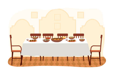 The dining room in arabic style flat vector illustration. Dining table with falafel and hummus. Furniture model for the interior of a room with Arabic elements. Arrangement of furniture at home