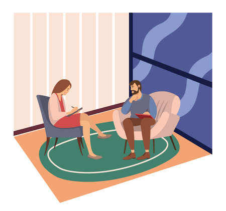 Patients at a reception at the psychotherapies. Woman talking to psychotherapist or psychologist and answer questions. A man sits in a chair and listens to the client s problems. Family psychotherapy Vetores