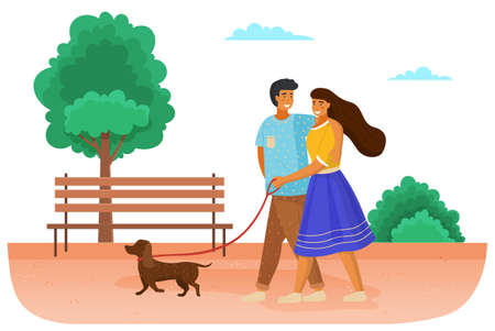 Family with a dog is walking on the street. Couple in relationship with a pet spends time outdoors. The owners with the animal together on a leash in the park. Cute happy smiling girl and guy on date