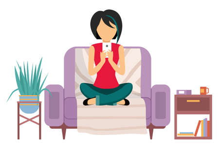 The woman is sitting on the couch. Beautiful girl is chatting with a smartphone in her hands. Female character is resting and spending time at home. Person working with a phone vector illustration Vetores