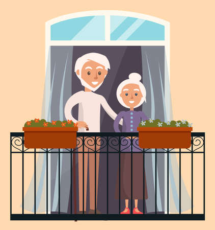 Elderly people in love resting at home. Couple looks out the window on the balcony of house. Citizens stay at home, daily routine, hobby time relaxing. Man hugs woman by waist, standing on the veranda