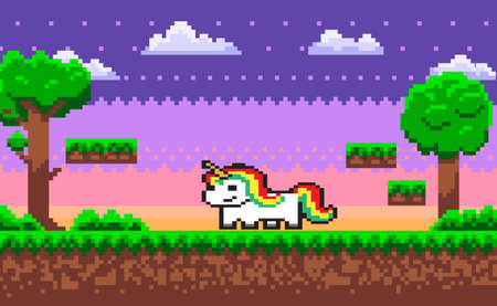 Pixel unicorn pixel game character vector, horse with colorful hair. 8 bit graphics pixelated personage of gaming process, ground and sky with stars