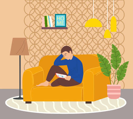 Guy isitting on yellow sofa with tablet, surfing the Internet. Cozy home furnishings, floor lamp, lush potted plant, shelf with books and photos, round rug, ceiling lighting. Living room items