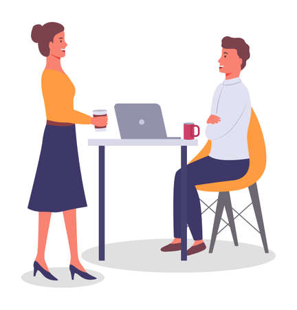 Office meeting and consideration of working affairs. Woman office worker discussing project with boss. Businesswoman dressed formally standing in room and talking to man siting at table with laptop