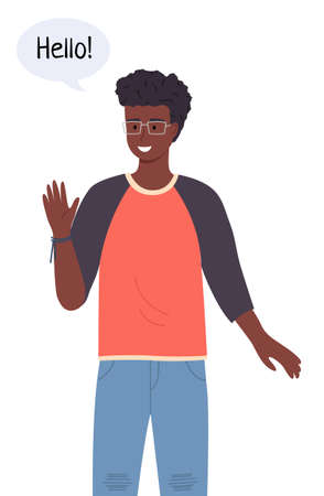 Handsome and intelligent black or ethnic teenage boy or young man with glasses. Smiling african american student talking Hello in chat bubble. Friendly male character waving a greeting welcome gesture