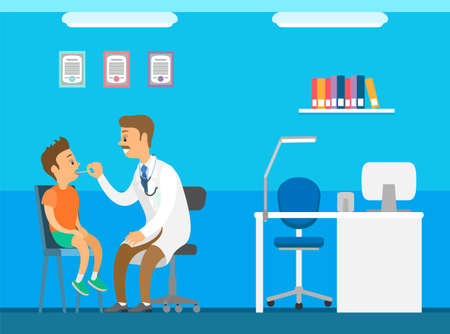 Pediatrician looks at the throat of a small boy with a special device heals the larynx of a child. Doctor examines ill kid in hospital. Cartoon male character physician works at clinic heals children Иллюстрация