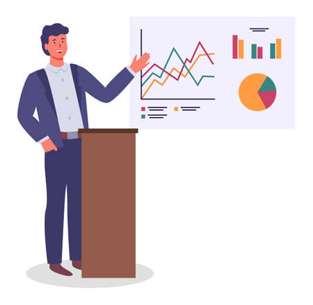 Young man points to stand with pie and bar charts, man in formal suit stands on the podium, gives a presentation. Employees, colleagues or office staff. Communicate and work. Flat vector image Vettoriali