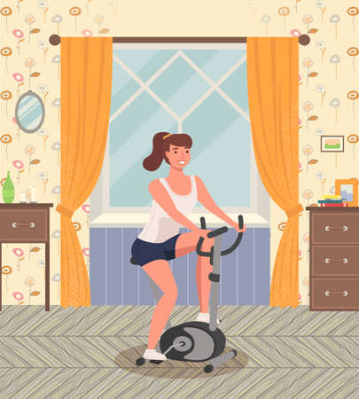 Woman doing cycling exercise. A girl with bike trainer doing sports at home near the window. Cardio workout. Exercising in the gym in the morning. Lifestyle and health. Equipment for physical activity