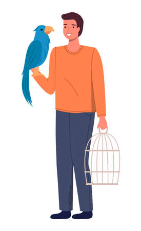 Man with his big blue parrot expecting for visiting a doctor in vet clinic isolated on white. Happy male character bought a bird in a store, prepared a cage for him, guy holding parrot on his hand Ilustrace