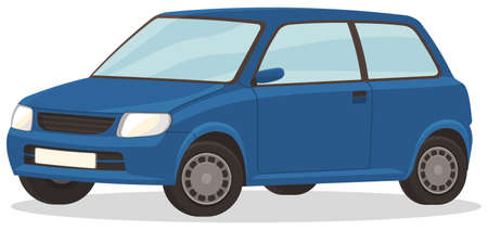 Blue car isolated on white background. Automobile front view flat style. Vehicle with tinted windows. Convenient mean of transportation, modern minicar. Auto sedan street transport family model