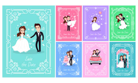 Wedding of bride and groom vector, people on happy day woman wearing bridal dress, dancing with husband. Couple in car, dancing cutting baked cake