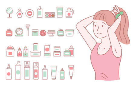 Drawn young girl with a red T-shirt ties her tail. A large set of simple items images of female cosmetics. Bath accessories and decorative cosmetics. Look after your appearance. Hand drawn style