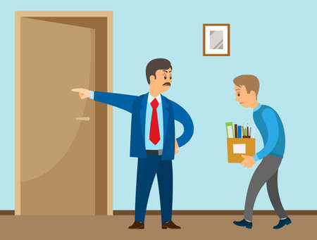 Layoff concept. Strict man boss dismissed employee. Unhappy guy leave the office with things in box. Unemployment dismissal of fellow workers. Crisis, jobless and employee job reduction concept