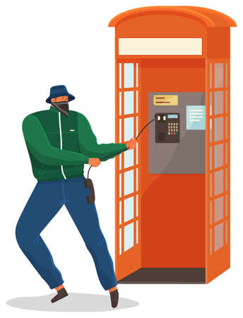 Vandal damaging the telephone booth isolated on white. Bandit in mask and hat destroy city property. Street gangsters and vandalism concept. Cartoon vector illustration with a man breaks telephone