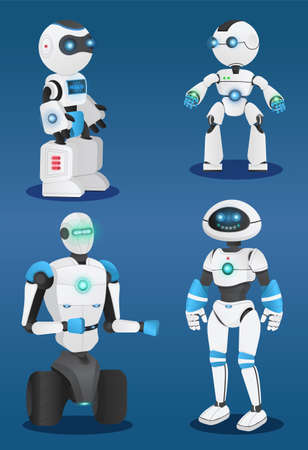 Futuristic robots at blue background, artificial intelligence, innovative humanized model of robot, realistic smiling android with hands, cybernetic science, electronic droid with sensors amd lamps