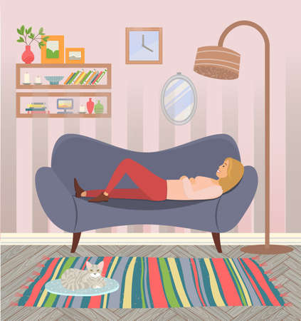 Woman lying on the sofa. Happy smile girl relaxing. Relax on couch and dream. Mother resting. Home leisure. Female character lies on the divan and smiles, dreams, sees a happy dream in livingroom