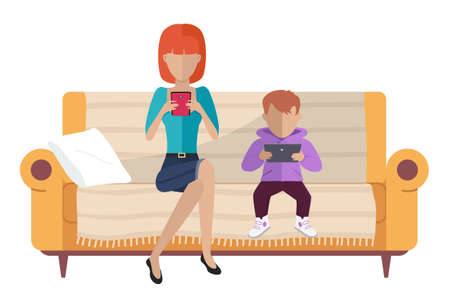 Family sitting on the couch. Mom and her son are chatting with a smartphone and a tablet. Cartoon characters are resting and spending time together at home. Relatives communicating using electronics