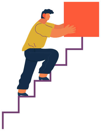 Man climbs the ladder stairs of success and a virtual career, flat vector illustration isolated on white. Young man holding and organizing abstract square geometric shape. Business building concept