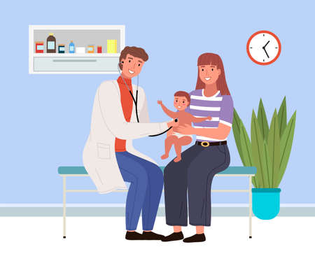 Mom holds son during consultation with a doctor. The doctor listens to the patient s heartbeat using a phonendoscope. Mom and son at the doctor s appointment. Man checks the health of child