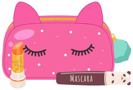 Vector illustration of a cosmetic pink bag with make up concept, lipstick and a mascara eyelash product. Cute funny beautician with ears and eyes and a womens makeup supplies isolated on white
