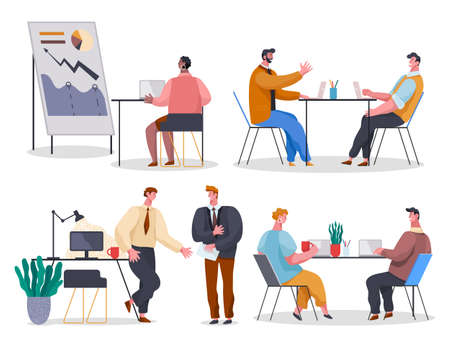 Set of office workers. Woman studying analytics at laptop. Colleagues discuss project at table. Employees gossip while coffee break. Woman and man communicate in office. Cartoon flat characters