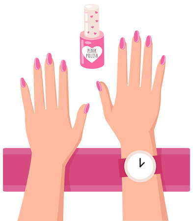 Pink nail polish and a woman s hands with a painted nails, varnish manicure salon accessory on white. Nail rose polish bottle with cap with hearts, cute container with lacquer, hand care and beauty