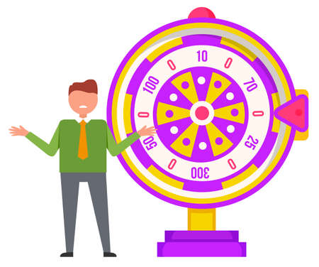 Gambling, fortune wheel and boy, luck and chance vector. Wealth and profit, casino game and guy in tie, color roulette, prize and award, isolated object Vector Illustratie