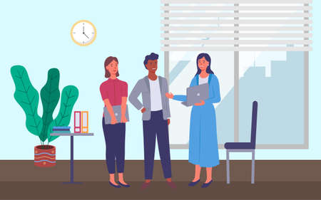 Business meeting or working process. People standing in office workspace communicating, holding a document talking to woman. Project management and teamwork concept. Businesswoman tells about contract