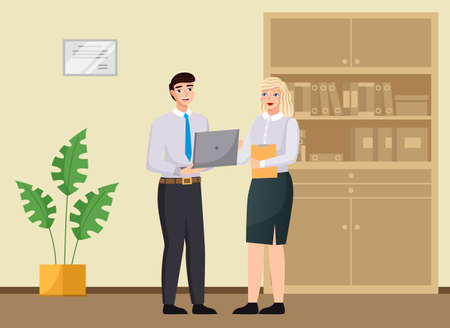 Office workers discussing matters. Businessman dressed in formal clothes with laptop talking. Business meeting and consideration of working issues at workspace. Woman talking to a man colleague