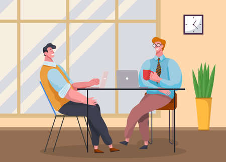 Businessmen dressed in casual clothes are sitting at the table with laptops and talking. Office workers discussing project. Business meeting and consideration of working moments. Friendly team work Illustration