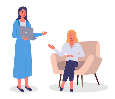 Businesswomen dressed in formal clothes sitting in armchair standing with computer in room and talking. Office meeting and consideration of working affairs. Office workers women in workspace