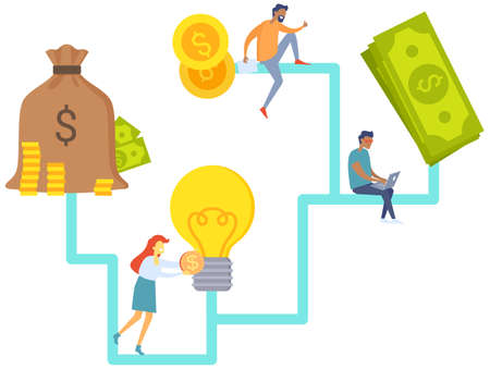 Great idea, business plan and cooperation in deal with businessmen partners making money together, teamwork. Man and woman discussing solution to increase profits, decide on new investment activity