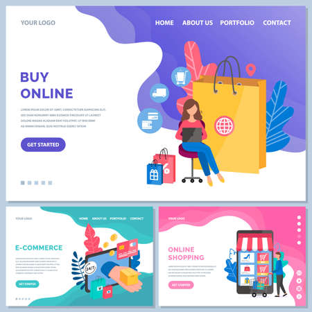 Set of illustrations on the theme of website design for internet sale and online shopping. App for contactless payment and ordering goods with delivery. E-commerce, online shopping and payment concept