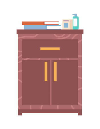 Wooden commode with drawers isolated on white background. Interior element made of wood. Chest of drawers vector illustration. Furniture for room interior design. Books and disinfectants on the closet