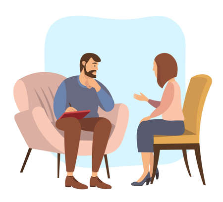 Patients at a reception at the psychotherapies. Woman talking to psychotherapist or psychologist and answer questions. A man sits in a chair and listens to the client s problems. Family psychotherapy