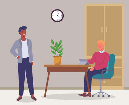 Businessmen talking at workplace. Office work, partnership flat vector illustration. Company staff cooperation, business project planning. Co-workers cartoon characters. Employees in workstation
